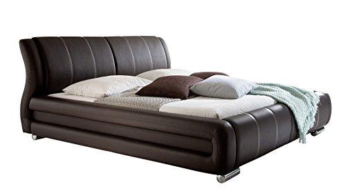 sette notti Polsterbett Bett Doppelbett XXL Braun, Liegefläche 180 x 200 cm, Kunstleder Bett Braun, Nähte Beige, Art. Bolzano 1092-10-5000