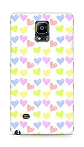 Amez designer printed 3d premium high quality back case cover for Samsung Galaxy Note 4 (colourful hearts )