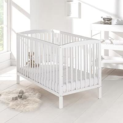 Baby Cot Bed with Deluxe Mattress (White)  Wonderhome24