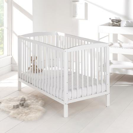 Baby Cot Bed with Deluxe Mattress (White)