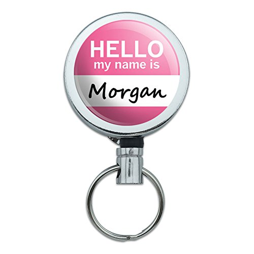Metal Retractable Reel ID Badge Key Holder with Belt Clip Hello My Name Is MO-NO