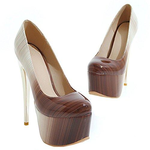 ENMAYER Frauen Lackleder Sexy Plattform Stiletto Super High Heels Runde und Peep Toe Pumps Slip auf Hochzeitskleid Court Schuhe 34 B(M) EU Braun#19