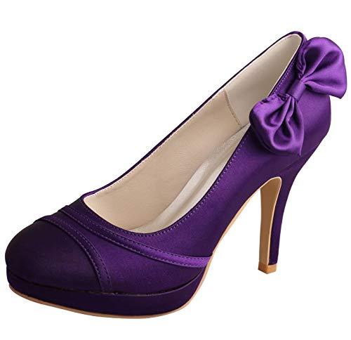 SERAPH MW783 Damen Satin Pumps Bow Plattform High Heel Abend Party Brautjungfer Schuhe lila,Purple,37EU -