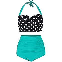 FeelinGirl Lunares Push Up Vintage Talle Alto Conjunto de Baño Bikini para Mujer Negro/Verde M