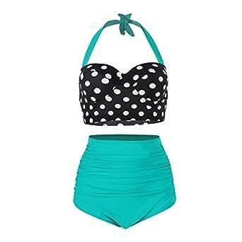 FeelinGirl Women Vintage Polka Dot High Waisted Bathing Suits Bikini Green M