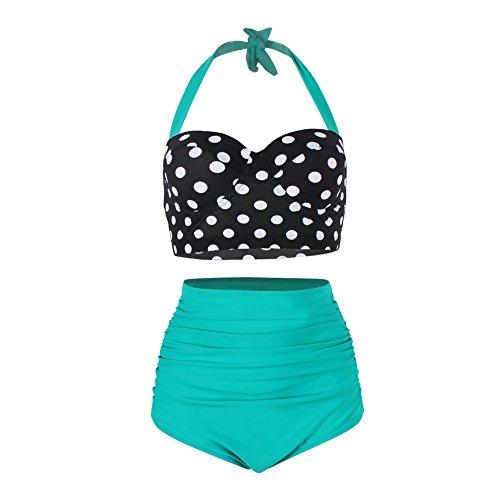 Femme Bikini Set Plage Imprimé Swimwear Maillot de Bain Rembourré Push Up Culotte Slip Taille Haute - Bas Vert - M