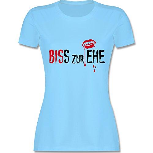 JGA Junggesellinnenabschied - Biss zur Ehe - tailliertes Premium T-Shirt mit Rundhalsausschnitt für Damen Hellblau
