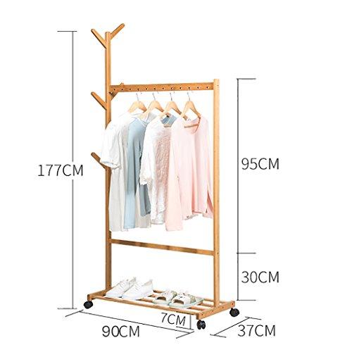 kleiderständer garderobe Aufhänger Boden Kleiderständer Schlafzimmer Massivholz Kleiderbügel moderne minimalistische mobile Racks Montage einfache Kleiderständer garderobe hutablage ( größe : 90cm )