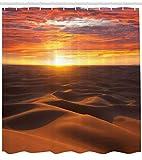 Abakuhaus Duschvorhang, Sonnenuntergang Landschaft Sahara Dunen Aride Landschaft Morrocco Sommer Natur Druck, Blickdicht aus Stoff inkl. 12 Ringe für Das Badezimmer Waschbar, 175 X 200 cm