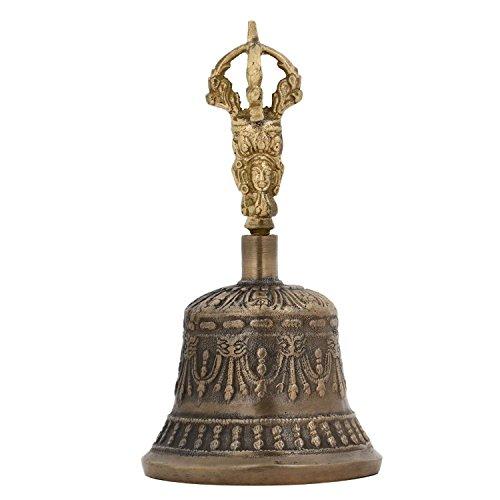Purpledip Spirituelle, buddhistische/ tibetische Messing-Glocke mit Dorje -Griff, für Selbstheilung, Yoga und Meditationsgebet, religiöses Geschenk (10680)