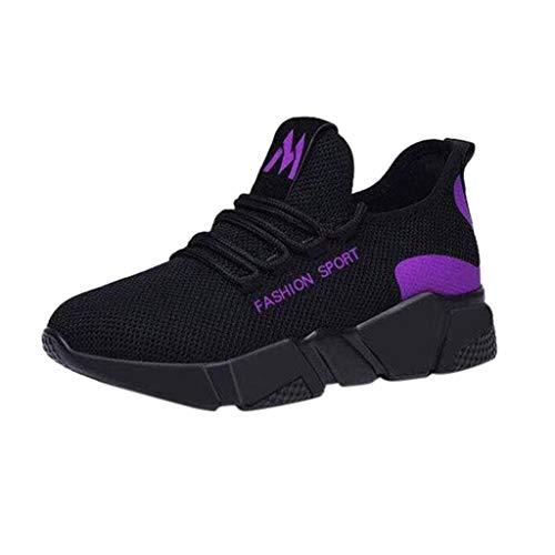 feiXIANG Damen Sommer Trekking Wanderschuhe Anti-Rutsch Sneakers Bequem Mesh Walking Sportschuhe Straßenlaufschuhe(Lila,37) - Board Freien Im Buchstaben