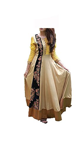 Royal Export Women\'s Cotton Beige Semi-Stitched Gown