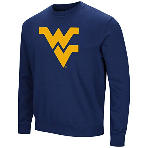Colosseum NCAA Herren Playbook Fleece-Sweatshirt, Rundhalsausschnitt, Tackle Twill-Stickerei, Teamfarben, Herren, West Virginia Mountaineers-Blue, Large -