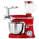 1900 W Küchenmaschine Stand Mixer Ice Crusher Fleischwolf Teigkneter Rot 6,5 L