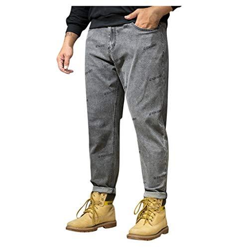 Fannyfuny Jeanshose Männer Jeans Hose Herren Casual Lose Plus Size Denim Pants Outdoor Bequem Arbeitshosen Trekkinghose Sporthose Cargo Hose mit Taschen Distressed Jeans-Hose Grau XL-XXXXXXXL - Classic Distressed Jeans