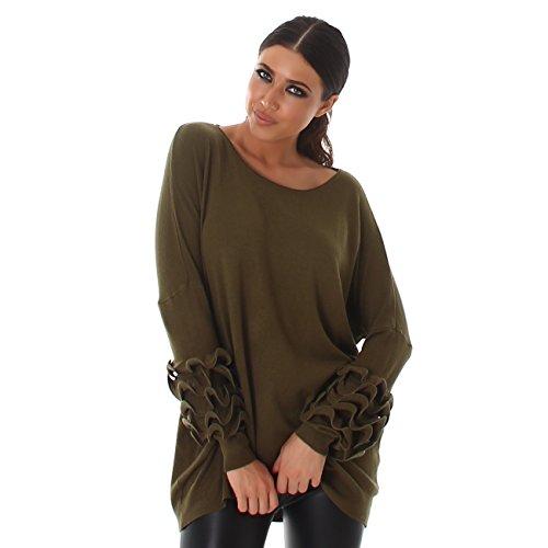 VOYELLES Damen Pullover im Oversize Look, Langam und elegant mit Rundhalsausschnitt, Gr. 36-40 Olivgrün