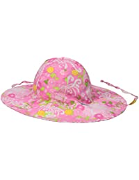 i play Mix n Match Reversible Brim Sun Protection Hat for Girls (0-6 Months, Newborn, Light Pink Mum Garden)