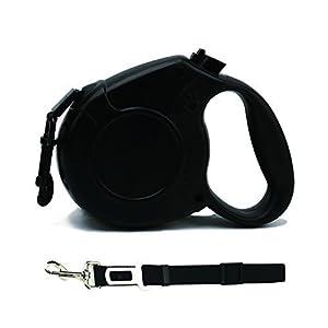 Laisse de chien rétractable avec 1 bandoulière de rechange de véhicule et de morsure de sécurité Ceinture de sécurité de la partie avant Laisses d'animaux de compagnie, ceinture de chien rétractable Tangle 5m libre avec la corde en nylon robuste pour peti