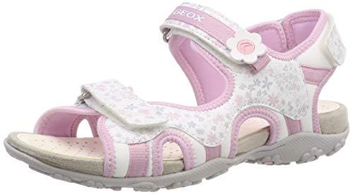 Geox Mädchen JR Roxanne C Peeptoe Sandalen, Weiß (White/Pink C0406), 33 EU
