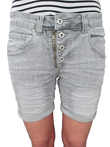 Place du Jour Damen Front Zip Knopfleiste Baggy Boyfriend Stretch Shorts Krempel Hose Grey S-36