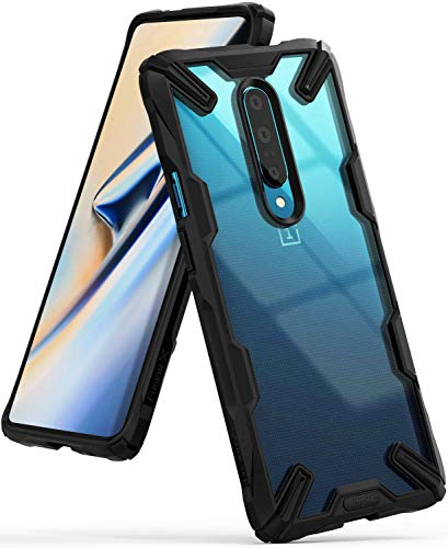 Ringke Fusion-X Custodia Compatibile con OnePlus 7 PRO, Ergonomico [Difesa Militare Testata] Posteriore in PC Bumper in TPU Cover Protezione Paraurti Trasparente Cover OnePlus 7 PRO - Black Nero