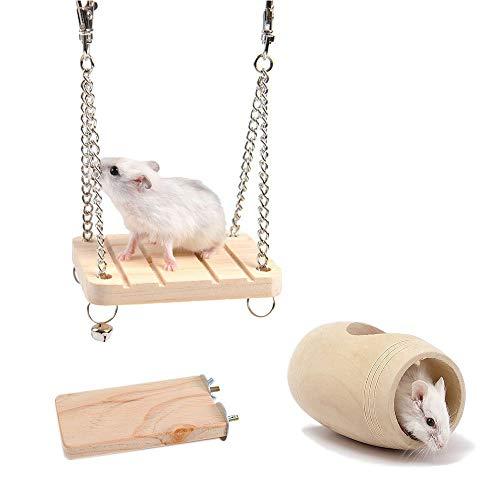 HongYH Juguetes de Madera, Jaula de hámster, Tubo del túnel Natural & Madera Gangplank Stand Plataforma & Hamster Swing con Campana para Animal pequeño Hamster Ardillas Parrot Toys (Pack de 3)