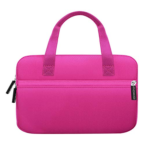 MoKo Universal 7-8 Inch Amazon Tablet Tasche, Tragbar Neoprene Handtasche für Fire 7 2019/2017, Fire HD 8 2018, Fire HD 8 Kids Edition, Fire 7 Kids Edition - Magenta