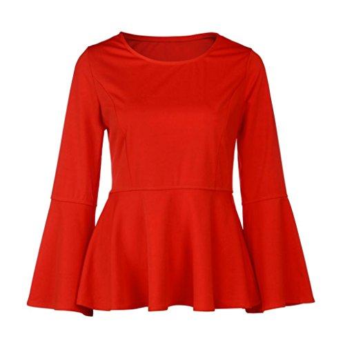 Donna Rcool Casuale Retro Camicetta Maglietta Maglia pullover manica lunga Tops T shirt Camicia sottile Primavera e autunno Rosso