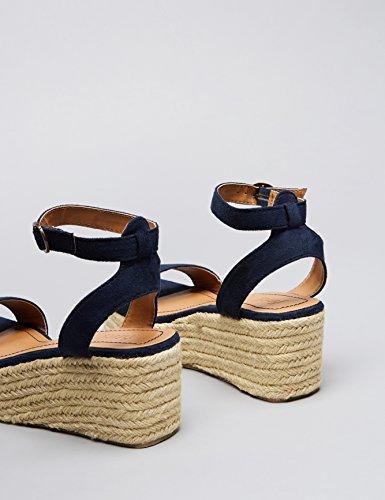 FIND Sandalo con Zeppa Donna Blu (Navy)