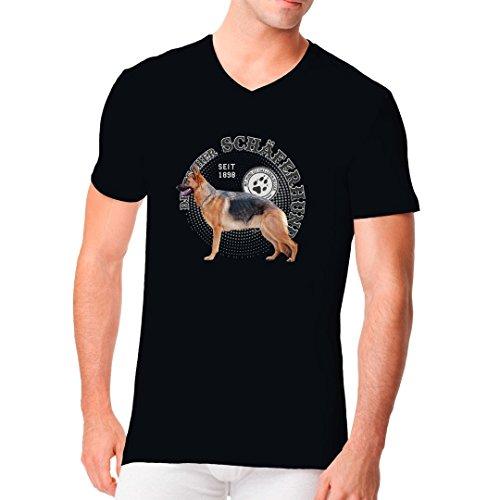 Im-Shirt - Hunde Motiv: Deutscher Schäferhund Foto cooles Fun Men V-Neck - verschiedene Farben Schwarz