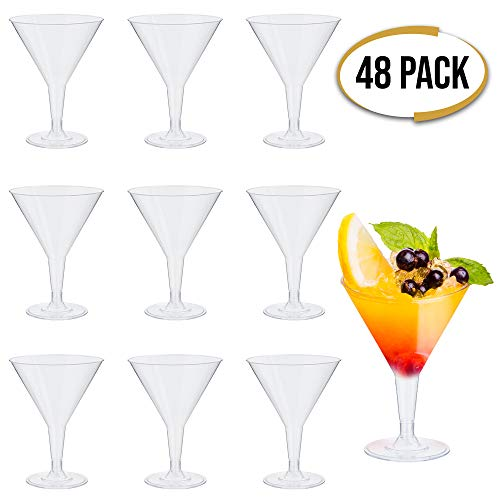 48 Premium Einweg Plastik Martini Gläser, 210 ml - Klares Polystyrol, Dauerhaft & Unzerbrechlich - Wiederverwendbar Recycelbar - Kunststoff Cocktailgläser für Partys, Geburtstage, Weihnachten