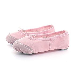 Rosa Segeltuchballett lyrischer Tanz Slipper Schuhe dauerhaft echtes Leder weich Geteilte Sohle flach für Mädchen Frauen tanzen (30 EU)