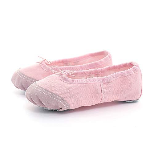 (Rosa Segeltuchballett lyrischer Tanz Slipper Schuhe dauerhaft echtes Leder weich Geteilte Sohle flach für Mädchen Frauen tanzen (30 EU))