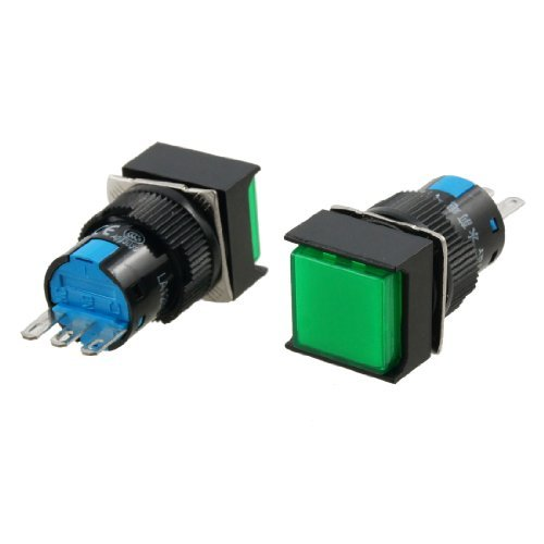 DealMux 2 Stück SPDT Green Square Stromstoß Push Button Switch 5A 220V AC 250 V -