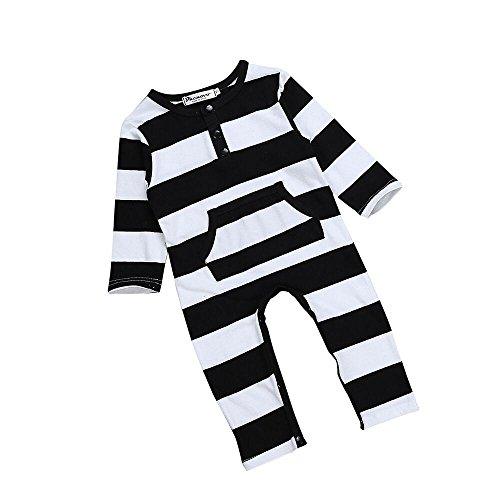 Covermason Baby Jungen Mädchen Baumwolle Romper Strampler Jumpsuit Bodysuit Kleidung (80, Schwarz)
