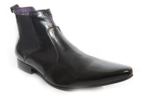 Pour Homme En Cuir Doux Noir Gucinari pointu cheville bottes taille UK 6-12 Noir - noir