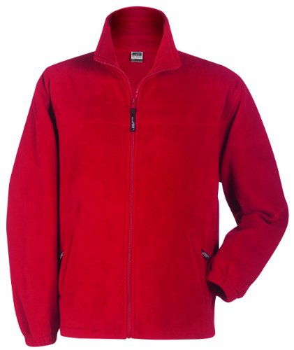 James & Nicholson Herren Full-Zip-Fleece Jacke, (rot), XX-Large -
