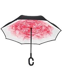 Vernassa Paraguas de viaje invertido, doble capa, paraguas invertido, resistente al viento,