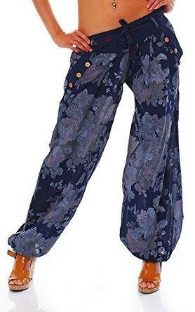 Moda Italy Damen Haremshose Pumphose Ballonhose Pluderhose Yogahose Aladinhose Harem Sommerhose mit Stoffgürtel Flower-Print, One Size Gr.36-42, Blau
