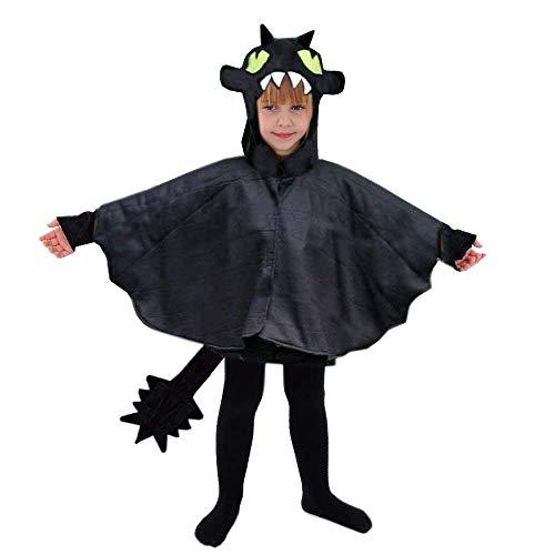Drache schwarz Kinder Kostüm 110 / 116 Dino Dinosaurier Fasching Dragon