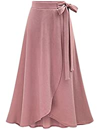 17452e0547bba Winfon Femme Jupe Longue Hiver Taille Haute Vintage Chic Rétro Jupe Fluide