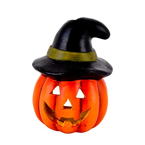 Dadeldo-Home Kürbis Spooky Deko-Objekt Halloween Keramik Orange-Schwarz Herbst (13x9x9cm)