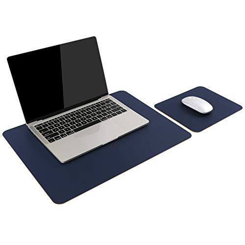 2 Set Pads, 1 Laptop Schreibtisch Unterlage + 1 Mauspad, Wasserdichte Unterlage aus PU-Leder, Schreibtischunterlagen mit Doppeltem Verwendungszweck für Büro/Zuhause (Blau)