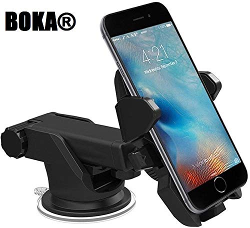 CQLEK Car Mobile Phone Holder -Imported Telescopic One Touch Long Neck Arm 360 Degree Rotation with Ultimate Reusable Suction Cup Mount for Car Dashboard/Windshield/Desktop (Black)