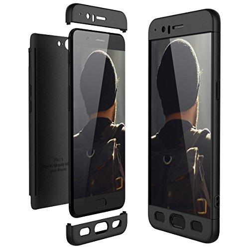 CE-Link für OnePlus 5 Hülle Hardcase 3 in 1 Handyhülle Ultra Dünn Hartschale 360 Grad Full Body Schutz Schutzhülle Anti-Kratzer Rückseite Bumper - Schwarz