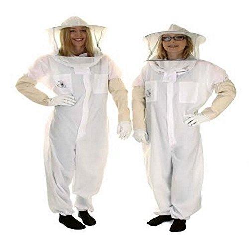 Buzz Basic Bienenzucht Anzug mit Rund Schleier und Handschuhe–Weiß (Runde Anzug)