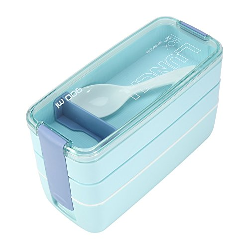 Blue : 3 Layer Microwave Bento Box Portable Lunch Microwave Safe BPA-Free All-In-One Stackable Box Food Storage Container Oven Lunch Case Blue
