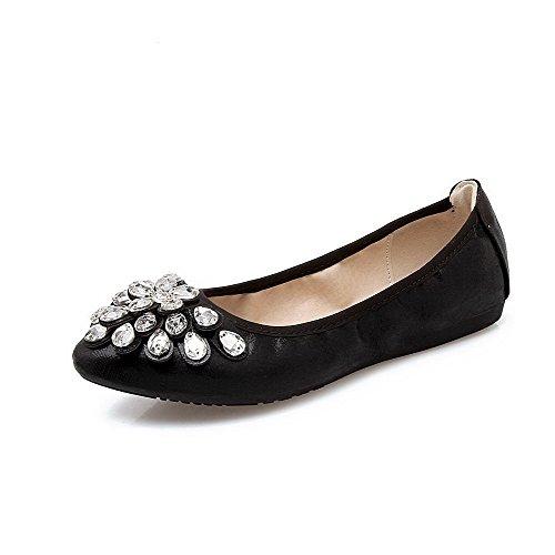 Senhoras Aalardom Material Macio Puramente Pontas De Arrastar Toe Em Bombas Sapatos Pretos