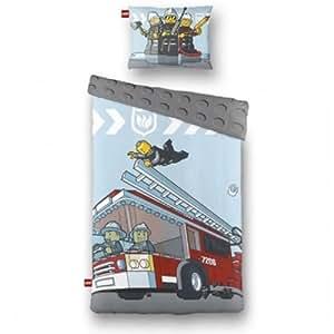 Lego City Fire Truck Single Duvet Cover Quilt Set with Pillowcase
