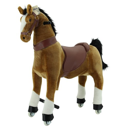 Sweety Toys 7363 Reittier groß Pferd BROWNIE auf Rollen für 4 bis 9 Jahre -RIDING ANIMAL